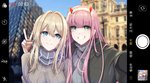 2girls absurdres arm_around_neck bangs black_coat blonde_hair blue_eyes blue_sky blurry blurry_background braid breasts brown_sweater changpan_hutao coat crossover darling_in_the_franxx fang green_eyes grey_sweater grin hair_between_eyes highres long_hair medium_breasts multiple_girls open_clothes open_coat outdoors outstretched_arm phone_screen pink_hair reaching_out recording red_horns scarf season_connection self_shot sky smile striped striped_scarf sweater v viewfinder violet_evergarden violet_evergarden_(character) zero_two_(darling_in_the_franxx)