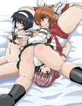 3girls arms_behind_back ass bdsm bed_sheet bondage breasts girls_und_panzer gym_uniform highres kondou_taeko looking_at_viewer multiple_girls nipples nishizumi_miho panties pussy_juice reizei_mako rope sahara_kazumitsu school_uniform serafuku shibari tears underwear