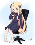 1girl abigail_williams_(fate/grand_order) bangs barefoot black_bow black_dress blonde_hair blue_eyes blush bow bug butterfly chair closed_mouth commentary_request dress eyebrows_visible_through_hair fate/grand_order fate_(series) forehead full_body hair_bow highres holding holding_pencil insect kujou_karasuma long_hair long_sleeves looking_at_viewer multiple_hair_bows no_hat no_headwear office_chair on_chair orange_bow parted_bangs pencil signature sitting sleeves_past_fingers sleeves_past_wrists solo very_long_hair