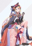 1girl abigail_williams_(fate/grand_order) alternate_costume bangs black_bow black_cape black_footwear black_jacket blonde_hair blue_eyes bow box cape closed_mouth dress fate/grand_order fate_(series) flower full_body fur_trim gift gift_box gloves hair_between_breasts hair_between_eyes hair_bow hand_up hat heart heart_necklace highres hood hood_down hoodie jacket jewelry kiriyama leg_ribbon leg_warmers loafers long_hair long_sleeves looking_at_viewer necklace orange_bow parted_bangs red_dress red_ribbon ribbon shoes single_shoe sitting socks solo star white_flower white_gloves white_legwear
