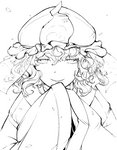 1girl commentary_request hat highres hiyuu_(flying_bear) japanese_clothes kimono long_sleeves looking_at_viewer mob_cap monochrome parted_lips saigyouji_yuyuko short_hair smile solo touhou triangular_headpiece veil wavy_hair