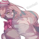 1girl breasts choker cleavage commentary_request earrings fate/grand_order fate_(series) formal glasses gloves hat jewelry koyanskaya long_hair looking_at_viewer midriff pink_hair ribbon ribbon_choker smile solo suit thank_you tongue tongue_out very_long_hair white_background white_gloves wonakira yellow_eyes