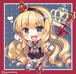 1girl :d azur_lane bangs blonde_hair blue_background blue_eyes blush border bow chibi commentary crown drill_hair eyebrows_visible_through_hair fang full_body gloves hair_bow hairband heart holding long_hair looking_at_viewer mini_crown open_mouth queen_elizabeth_(azur_lane) red_border smile solo suzune_rena twitter_username very_long_hair white_bow white_gloves