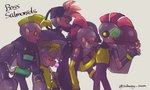5boys blonde_hair bubble_blowing chewing_gum drizzler_(splatoon) fingerless_gloves flyfish_(splatoon) gloves jetpack male_focus mohawk multiple_boys personification pink_eyes pink_skin pointy_ears profile red_hair salmonid scrapper_(splatoon) smallfry_(splatoon) splatoon_(series) splatoon_2 steel_eel steelhead_(splatoon) subway_sum surgical_mask tongue tongue_out umbrella vest visor yellow_gloves yellow_sclera