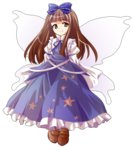 1girl alphes_(style) bangs blue_bow blue_ribbon blue_shirt blue_skirt blunt_bangs bow brown_eyes brown_footwear brown_hair closed_mouth dairi eyebrows eyebrows_visible_through_hair fairy fairy_wings frilled_bow frilled_skirt frills full_body hair_bow juliet_sleeves loafers long_hair long_skirt long_sleeves parody puffy_long_sleeves puffy_sleeves ribbon shirt shoes skirt skirt_set smile solo star_sapphire straight_hair style_parody tachi-e touhou transparent_background wings