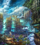 aircraft airship bridge building city cloud day fantasy flower highres munashichi no_humans original plant scenery sky stairs tree