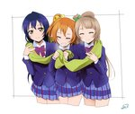 3girls bangs blue_hair closed_eyes commentary_request grey_hair hair_between_eyes highres kousaka_honoka long_hair love_live! love_live!_school_idol_project minami_kotori multiple_girls one_side_up orange_hair otonokizaka_school_uniform sandwiched scarf shared_scarf simple_background smile sonoda_umi suan_ringo white_background yellow_eyes