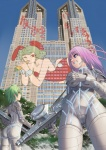 2girls animal_ears ass bodysuit building bunny_ears bunny_girl cameltoe carrot graffiti green_hair grin gun leotard long_hair multiple_girls one_eye_closed original pink_hair pixiv purple_eyes raybar short_hair skyscraper smile tokyo_city_hall weapon