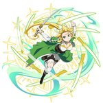 1girl black_footwear blonde_hair boots bracelet breasts cape cleavage corset floating_hair full_body green_cape green_eyes holding holding_sword holding_weapon jewelry large_breasts leafa long_hair looking_at_viewer ponytail shorts simple_background solo sword sword_art_online thighhighs very_long_hair waist_cape weapon white_background white_legwear white_shorts