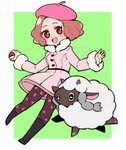 1girl :d beret blush boots brown_eyes brown_hair commentary_request crossover do_m_kaeru gen_8_pokemon hat horns okumura_haru open_mouth pantyhose persona persona_5 persona_5_the_royal pink_coat pink_headwear pokemon pokemon_(creature) print_legwear sheep short_hair smile wooloo