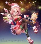 1boy 2girls :3 :d ;) >_< animal_costume animal_ears artist_name bangs bare_shoulders black_legwear blonde_hair blue_eyes boots box breasts brown_eyes brown_hair bunny_ears chibi choker christmas closed_eyes closed_mouth collarbone dress english fake_animal_ears from_side full_body fur_trim gift gift_box glasses gloves hair_ornament hairclip hat heart heart_print highres holding holding_gift kanbara_akihito kuriyama_mirai kyoukai_no_kanata lens_flare long_hair long_sleeves medium_breasts merry_christmas multiple_girls one_eye_closed open_mouth outstretched_arms panties pantyshot pantyshot_(sitting) qiki.z red-framed_eyewear red_dress red_footwear red_gloves reindeer reindeer_costume reindeer_hat santa_costume santa_hat scarf shindou_ai silhouette sitting sleeveless sleeveless_dress smile snowflakes star strapless strapless_dress striped striped_scarf swept_bangs thighhighs underwear white_panties