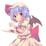 1girl arms_up bat_wings blouse blue_hair brooch cowboy_shot cravat cup cycloneyukari eyebrows_visible_through_hair from_side hair_between_eyes hat hat_ribbon head_tilt holding holding_cup holding_saucer jewelry looking_at_viewer mob_cap parted_lips puffy_short_sleeves puffy_sleeves red_neckwear remilia_scarlet ribbon short_hair short_sleeves simple_background skirt solo standing teacup touhou white_background white_blouse white_headwear white_skirt wings wrist_cuffs