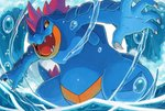 claws commentary creature english_commentary feet_out_of_frame feraligatr gen_2_pokemon no_humans open_mouth pokemon pokemon_(creature) sei_(seiryuuden) sharp_teeth solo standing teeth water waves yellow_eyes