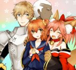 2boys 2girls ahoge animal_ears apple armor bell bell_collar blonde_hair blue_eyes breasts caster_(fate/extra) cleavage collar command_spell dark_skin dark_skinned_male emiya_alter fate/extra fate/grand_order fate_(series) food fox_ears fox_tail fruit fujimaru_ritsuka_(female) gawain_(fate/extra) green_eyes hair_over_one_eye hair_ribbon highres large_breasts long_hair looking_at_viewer multiple_boys multiple_girls open_mouth orange_eyes orange_hair paws pink_hair ribbon short_hair side_ponytail sweat tail tamamo_cat_(fate/grand_order) white_hair yellow_eyes