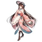 1girl absurdres apron bag bangs bison_cangshu black_footwear black_hat blunt_bangs boots breasts brown_eyes brown_hair closed_mouth eyebrows_visible_through_hair floral_print flower frilled_sleeves frills full_body fusou_(zhan_jian_shao_nyu) hair_flower hair_ornament hand_on_own_chest handbag hat high_heels highres holding japanese_clothes kimono large_breasts long_sleeves looking_at_viewer official_art pink_kimono seaplane smile solo transparent_background waist_apron wide_sleeves zhan_jian_shao_nyu
