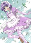 1girl :d apron bow breasts crazy_eyes dress drugs flower frills futaba_channel gloves maid maid_apron maid_headdress mono_(moiky) nijiura_maids open_mouth pantyhose plant puffy_sleeves purple_eyes purple_hair short_hair short_hair_with_long_locks sky small_breasts smile solo striped striped_legwear syringe tongue tongue_out yakui