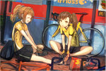 2girls bag bicycle bismarcho brown_eyes brown_hair closed_eyes coffee_cup cup disposable_cup futami_mami ground_vehicle idolmaster idolmaster_(classic) idolmaster_2 long_hair mcdonald's multiple_girls open_mouth orange_hair paper_bag shorts side_ponytail sitting sportswear takatsuki_yayoi twintails