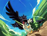 alex_ahad battle beak bird bird_focus blue_sky blurry blurry_background commentary corviknight english_commentary feathered_wings feathers flying gen_8_pokemon holding holding_shield holding_weapon looking_at_another no_humans open_mouth pokemon pokemon_(creature) red_eyes shield sirfetch'd sky speed_lines spring_onion standing sword talons thick_eyebrows weapon wings