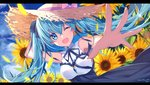 1girl aluppia blue_eyes blue_hair commentary_request floating_hair flower foreshortening hat hatsune_miku highres long_hair one_eye_closed open_mouth outdoors outstretched_arm sky solo straw_hat sun_hat sunflower twintails vocaloid