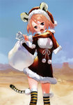 1girl :o absurdres animal_ears blue_eyes blue_sky breasts capelet copyright_request day desert dress hat highres looking_at_viewer okazaki_takeshi open_mouth orange_hair red_dress sack santa_hat scan short_twintails sky small_breasts solo standing striped striped_legwear tail thighhighs tiger_ears tiger_tail twintails
