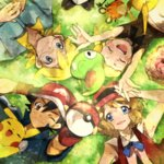 2boys 2girls :d black_hair blonde_hair blue_eyes blush_stickers brown_eyes brown_hair circle_formation citron_(pokemon) closed_eyes dedenne eureka_(pokemon) glasses hat holding holding_poke_ball lying momiji_(00mmj00) multiple_boys multiple_girls one_eye_closed open_mouth pikachu poke_ball pokemon pokemon_(anime) pokemon_(creature) pokemon_xy_(anime) puni_(pokemon) satoshi_(pokemon) serena_(pokemon) short_hair smile zygarde zygarde_core