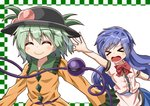 2girls >_< ^_^ arms_up black_headwear blue_hair blush bow bowtie breasts checkered_border closed_eyes commentary_request dress eyebrows_visible_through_hair food fruit green_hair hair_between_eyes hat hat_removed hat_theft headwear_removed hinanawi_tenshi komeiji_koishi layered_dress leaf long_hair long_sleeves multiple_girls open_mouth peach puffy_short_sleeves puffy_sleeves reaching red_neckwear shirt short_hair short_sleeves simple_background small_breasts smile sugiyama_ichirou third_eye touhou upper_body very_long_hair white_background yellow_shirt