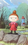 1girl aposine boots bow brown_hair cloud day grass green_eyes hands_on_hips highres hill little_my moomin outdoors rock scenery short_hair sky smile standing topknot tree