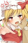 1girl anger_vein arm_grab ascot bangs blonde_hair blush bow commentary_request crystal feet_out_of_frame finger_in_mouth flandre_scarlet grabbing hat hat_bow highres karasusou_nano looking_at_viewer mob_cap nose_blush one_side_up open_mouth petticoat pov reaching_out red_bow red_eyes red_skirt red_vest short_hair simple_background skirt skirt_set solo_focus sweat teeth touhou vest white_background white_headwear white_legwear wings yellow_neckwear