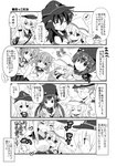 1boy 4koma 6+girls :< :d :o :x =_= >_< ^_^ absurdres admiral_(kantai_collection) akatsuki_(kantai_collection) between_breasts breasts chibi closed_eyes comic crossed_arms dual_persona facial_scar fang fingerless_gloves flat_cap flying_sweatdrops folded_ponytail gangut_(kantai_collection) glasses gloves greyscale hair_ornament hairclip hands_together hat head_between_breasts hibiki_(kantai_collection) highres hizuki_yayoi hug ikazuchi_(kantai_collection) inazuma_(kantai_collection) kantai_collection long_hair military military_uniform monochrome multiple_girls musical_note naval_uniform neckerchief open_mouth papakha peaked_cap pleated_skirt remodel_(kantai_collection) scar scar_on_cheek school_uniform serafuku short_hair skirt smile spoken_musical_note sweatdrop tashkent_(kantai_collection) translation_request triangle_mouth twintails uniform verniy_(kantai_collection) younger |_|