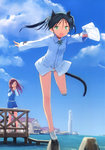 2girls absurdres animal_ears cat_ears day fang francesca_lucchini hair_ribbon handkerchief highres lighthouse long_sleeves maria_pier_di_romagna medium_hair multiple_girls no_pants non-web_source open_mouth panties pier ribbon scan shimada_fumikane sky strike_witches striped striped_panties tail twintails underwear uniform white_footwear world_witches_series