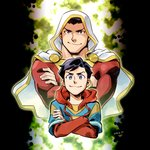 2014 2boys artist_name billy_batson black_hair blue_eyes brown_eyes cape crossed_arms dated dc_comics dual_persona hood male_focus multiple_boys muscle sen_(sen69) shazam signature smile smirk superhero sweater upper_body