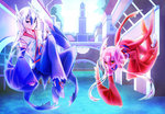 1boy 1girl blue_eyes blue_hair detached_sleeves highres latias latios levitation long_hair multicolored_hair personification pokemon red_hair s_tane shoes smile twintails white_hair