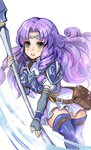 1girl armor blue_armor blue_gloves blue_legwear breastplate circlet dress elbow_gloves fingerless_gloves fire_emblem fire_emblem:_rekka_no_ken fire_emblem_heroes florina fujimaru_(green_sparrow) gloves green_eyes hair_intakes holding holding_weapon lance long_hair open_mouth pegasus_knight polearm purple_hair shoulder_pads silver_trim solo thighhighs weapon white_dress zettai_ryouiki