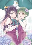 2girls :d black_hair braid eyebrows eyebrows_visible_through_hair flower gayarou green_eyes green_hair hair_flower hair_ornament hair_ribbon hand_on_another's_hip hydrangea jpeg_artifacts kantai_collection multicolored_hair multiple_girls naganami_(kantai_collection) open_mouth outdoors pink_hair rain ribbon shared_umbrella short_hair side-by-side smile takanami_(kantai_collection) teruterubouzu thick_eyebrows umbrella