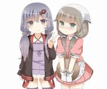 2girls apron bangs blend_s blush brown_hair closed_mouth cosplay dress eyebrows_visible_through_hair frown gloves hair_ornament head_scarf headset holding holding_tray jacket kantai_collection long_hair long_sleeves low_twintails mikura_(kantai_collection) multiple_girls pink_shirt pink_skirt purple_dress purple_hair sakuranomiya_maika sakuranomiya_maika_(cosplay) shirt short_sleeves skirt smile soba_(sobaya1938) stile_uniform strapless strapless_dress thighhighs tray tsushima_(kantai_collection) tube_dress twintails v vocaloid voiceroid waist_apron waitress white_apron white_gloves yuzuki_yukari yuzuki_yukari_(cosplay)