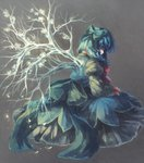 1girl alternate_wings blue_hair bow branch cirno closed_eyes dress hair_bow ice ice_wings inari_(flandoll-scarlet-devil) long_dress ribbon short_hair solo touhou wings
