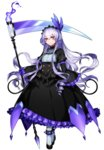 1girl chandelure dress drill_hair expressionless feathers fire frills full_body gloves headdress highres katagiri_hachigou lavender_hair long_hair long_sleeves looking_at_viewer personification pokemon pokemon_(game) puffy_sleeves purple_gloves scythe shoes simple_background solo turtleneck white_background white_legwear wide_sleeves yellow_eyes