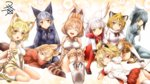 6+girls :d ^_^ animal_ears ass bangs bare_shoulders black_gloves black_hair black_legwear blonde_hair blunt_bangs blush boots bow bowtie breasts cat_ears cat_tail closed_eyes elbow_gloves eyebrows_visible_through_hair ezo_red_fox_(kemono_friends) fox_ears fox_tail fur_collar fur_trim gloves grey_hair grey_legwear grey_shirt grey_shorts hair_between_eyes head_wings high-waist_skirt highres jacket jaguar_(kemono_friends) jaguar_ears japanese_crested_ibis_(kemono_friends) kemono_friends lap_pillow lion_(kemono_friends) lion_ears lion_tail long_hair long_sleeves looking_at_viewer lying mary_janes multicolored_hair multiple_girls necktie no_panties on_side on_stomach open_mouth pantyhose pleated_skirt red_hair red_legwear sand_cat_(kemono_friends) serval_(kemono_friends) serval_ears serval_print serval_tail shirt shoebill_(kemono_friends) shoes short_hair short_sleeves shorts silver_fox_(kemono_friends) silver_hair sitting skirt sleeveless sleeveless_shirt smile streaked_hair striped_tail tail thighhighs two-tone_hair v_arms white_hair white_legwear white_shirt yellow_eyes yua_(checkmate)