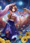 1girl :d arm_up black_footwear blue_eyes boots bracelet breasts brown_hair crescent_moon detached_sleeves eyebrows_visible_through_hair final_fantasy final_fantasy_x flower green_eyes hakama hakama_skirt heterochromia holding holding_staff japanese_clothes jewelry leaf long_sleeves looking_at_viewer medium_breasts moon obi open_mouth purple_hakama sasanomesi sash short_hair sky smile spirit staff star_(sky) starry_sky valefor white_flower wide_sleeves yellow_flower yuna_(ff10)
