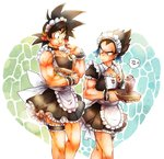 2boys alternate_costume anchor_symbol anger_vein apron ayo_(isy8800) black_hair cookie dragon_ball dragon_ball_z eating enmaided food heart maid maid_apron maid_headdress multiple_boys son_gokuu spiked_hair sweatdrop vegeta