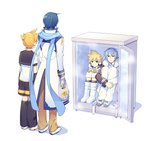 4boys asymmetrical_sleeves bag bangs blank_stare blonde_hair blue_eyes blue_hair blue_scarf boots coat commentary dual_persona from_behind full_body fur-trimmed_coat fur_trim hands_on_own_knees high_collar holding holding_bag in_container in_refrigerator kagamine_len kaito leg_hug long_scarf multiple_boys pants ponytail project_diva_(series) refrigerator sailor_collar scarf short_hair shorts sinaooo sitting standing vocaloid white_background winter_clothes winter_coat