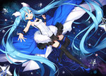 1girl 7th_dragon_(series) 7th_dragon_2020 absurdly_long_hair aqua_eyes aqua_hair blue_shoes full_body hatsune_miku high_heels highres long_hair mamemena open_mouth outstretched_arm shoes skirt solo thighhighs twintails very_long_hair vocaloid