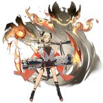 1girl :d arknights bangs black_footwear blonde_hair boots breasts canister choker cloak dress elite_ii_(arknights) eyebrows_visible_through_hair fire flamethrower flat_chest full_body gas_tank gradient_hair grey_dress grey_hair gun hand_up holding holding_gun holding_weapon horns ifrit_(arknights) leg_strap looking_at_viewer low_twintails multicolored_hair official_art open_mouth open_toe_shoes orange_eyes orange_nails parted_bangs sho_(sho_lwlw) short_dress sidelocks slit_pupils smile solo striped striped_dress tachi-e tail thigh_strap toeless_boots toenail_polish tongue tongue_out transparent_background twintails weapon white_cloak