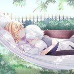 2girls apron bangs black_skirt blonde_hair blue_dress blue_sky branch bush closed_eyes day dress eyebrows_visible_through_hair fence frilled_apron frills from_side grass hair_between_eyes hammock highres hug izayoi_sakuya kirisame_marisa leaf lying maid_apron multiple_girls no_hat no_headwear on_back on_stomach outdoors pillow profile puffy_short_sleeves puffy_sleeves shirt short_hair short_sleeves signature silver_hair skirt sky sleeping smile souta_(karasu_no_ouchi) touhou upper_body waist_apron white_apron white_shirt yuri