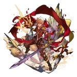 1boy albert_(shingeki_no_bahamut) blonde_hair boots cape clenched_hand dagger dragalia_lost electricity full_body gauntlets holding holding_sword holding_weapon lightning looking_at_viewer male_focus non-web_source official_art red_cape red_eyes saitou_naoki solo standing sword transparent_background weapon