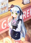 1girl :o animal animal_hug apron black_apron black_cat black_hairband black_ribbon blue_hair blush brand_name_imitation breasts brown_headwear cat commentary_request crepe facial_mark fingernails food food_on_face frilled_apron frills fruit girls_frontline hair_ornament hair_ribbon hairband hand_up hat highres hk416_(girls_frontline) holding holding_food korean_commentary long_hair long_sleeves looking_at_viewer mini_hat nutella parted_lips pleated_skirt ribbon seero shirt skirt small_breasts solo standing strawberry tilted_headwear two_side_up very_long_hair wafer_stick white_shirt white_skirt