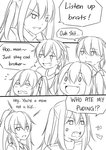 0_0 2boys 4girls :d anger_vein bangs blush bow brother_and_sister collared_shirt comic crossover english_text eyebrows_visible_through_hair fang flying_sweatdrops girls_frontline greyscale guin_guin hair_between_eyes hair_bow high_ponytail highres kantai_collection lightning_bolt monochrome mother_and_daughter mother_and_son multiple_boys multiple_girls one_side_up open_mouth original ponytail scar scar_across_eye sendai_(kantai_collection) shirt siblings smile teardrop two_side_up ump45_(girls_frontline) v-shaped_eyebrows