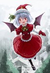 1girl :d absurdres artist_name black_footwear blush boots capelet christmas commentary_request demon_wings dress fang flying full_body fur_trim gloves hat highres lavender_hair looking_at_viewer merry_christmas open_mouth outdoors pantyhose pom_pom_(clothes) red_capelet red_dress red_eyes red_gloves remilia_scarlet santa_costume santa_hat short_hair slit_pupils smile snowing snozaki solo touhou vampire wings