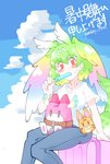 1girl alternate_costume bangs blue_sky blush casual cerval cloud commentary_request eyebrows_visible_through_hair food green_hair hair_between_eyes head_wings highres kemono_friends looking_at_viewer lucky_beast_type_3 pants parsley_1941 popsicle red_eyes shirt shochuumimai short_hair short_sleeves sitting sky solo tail white_shirt