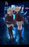 2girls arm_up artoria_pendragon_(all) bangs belt belt_buckle black_dress black_footwear black_legwear black_shirt black_shorts boots breasts brown_eyes buckle commentary_request dress fate/grand_order fate_(series) fur-trimmed_jacket fur-trimmed_sleeves fur_trim hair_between_eyes hand_up highres holding jacket jeanne_d'arc_(alter)_(fate) jeanne_d'arc_(fate)_(all) karinto_yamada knee_boots large_breasts light_brown_hair long_hair long_sleeves multiple_girls neon_lights night night_sky open_clothes open_jacket outdoors purple_jacket reflection saber_alter shinjuku shirt short_shorts shorts sky star stretch thigh_boots thighhighs white_belt wicked_dragon_witch_ver._shinjuku_1999